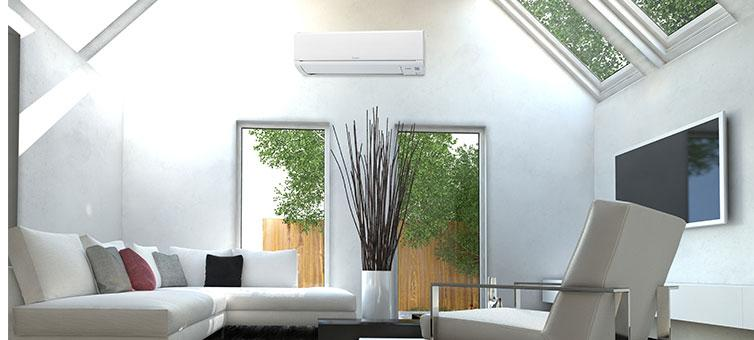 Mitsubishi wall mounted air conditioner in living area